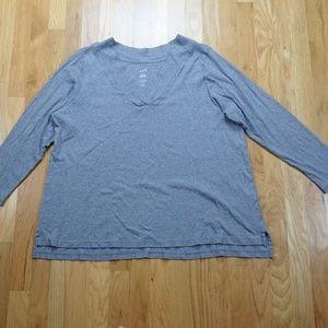 J Jill Casual V-Neck Long Sleeve 100% Cotton Tee